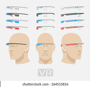 Colored augmented reality glasses. The objects are isolated against the white background and shown from different sides