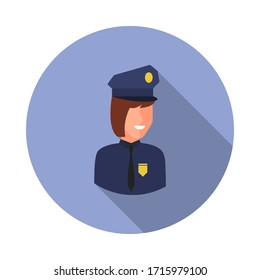 colored avatar of police woman long shadow icon. Simple color vector of Avatar icons for ui and ux, website or mobile application