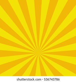 Colored back Pop Art Style yellow background. For comic text bubble backdrop line space. Funny sun beam template. Vector illustration