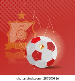Colored background with a soccer ball and a soccer emblem. Vector illustration