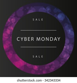 Colored background with text for cyber monday sales