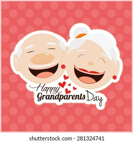 Colored background with text for grandparents' day. Vector illustration