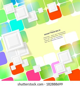 colored  Background with white  squares. Abstract illustration