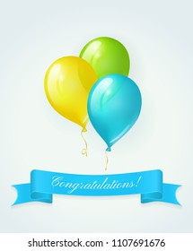 Colored balloons and blue banner with text Congratulations. Vector greeting card
