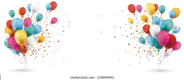 Colored balloons with confetti on the white background. Eps 10 vector file.
