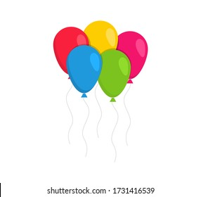 Colored balloons in a flat style. Cartoon balloons for birthday and party. Vector