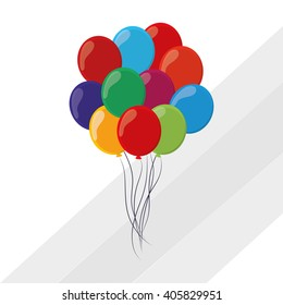 colored balloons icon, vector illustration