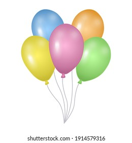 Colored balloons isolated on white background. Template for postcard, banner, poster, web design. Hand Drawn vector illustration.