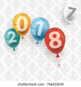 Colored balloons with numbers 2018 and 2017 on the wallpaper with ornaments. Eps 10 vector file.