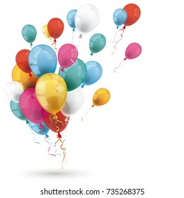 Colored balloons with white background. Eps 10 vector file.