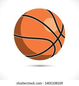 Colored basketball vector illustration. Sport basketball vector art on white background