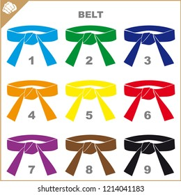 Colored belts for martial arts kimono set, dogi karate, judo, taekwondo, hapkido, karate.