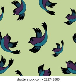 Colored Birds Seamless