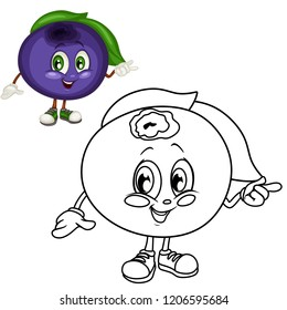 Colored and Black and White Cartoon Illustration of a Huckleberry. Cute Berry Coloring Page. Vector Illustration of a Hot Chili Paper