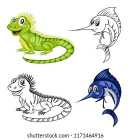 Colored and Black and White Vector Illustration of a Happy Xiphias and Iguana. Cute Cartoon Swordfish and Iguana Isolated on a White Background Coloring Page. Happy Animals Coloring Book for Children