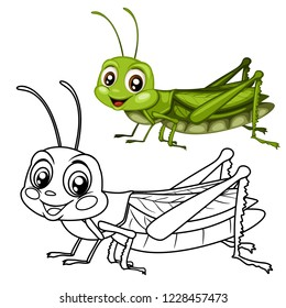 Colored and Black and White Vector Illustration of a Happy Grasshopper Cute Cartoon Grasshopper Isolated on a White Background Coloring Page. Happy Insects Coloring Book for Children
