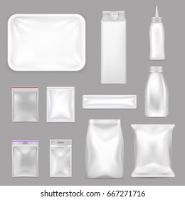 Colored blank food packaging realistic icon set with zip lock bags in different sizes vector illustration