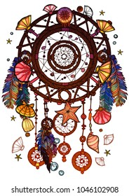 Colored bohemian vector Dreamcatcher with gemstones and feathers. Ethnic illustration with native American Indian chic design, mystery ethnic tribal print, gypsy ornament, dream catcher.