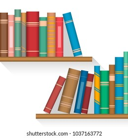 Colored books on shelves with raised bands on a spine cover. Vector illustration, EPS10.