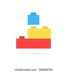 colored building block toy with shadow. concept of edifice, industry, engineering, brainstorming, development. isolated on white background. flat style trend modern logotype design vector illustration
