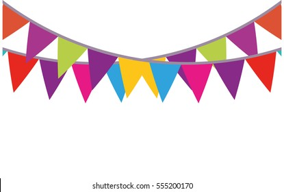 colored bunting party decoration festive vector illustration eps 10