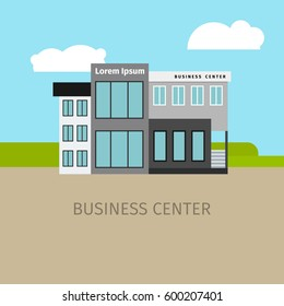 Colored business center building with sky and clouds, vector illustration
