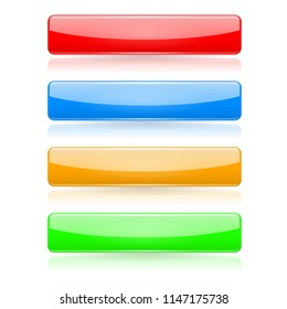 Colored buttons. 3d glass menu icons. Vector illustration isolated on white background