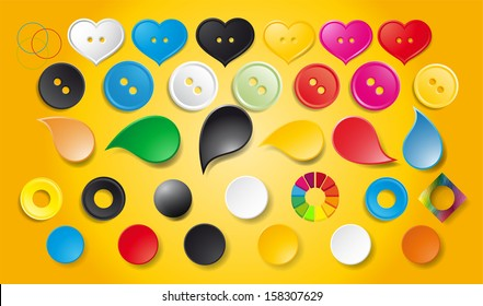 colored buttons, circles, abstract shapes for design