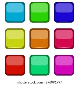 Colored buttons on a white background, vector illustration