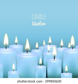Colored candles. Candle flame fire light. Festive background. Vector