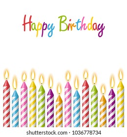 colored candles with different candlelights and text happy birthday