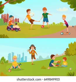 Colored carton kids banner set with children playing on the green grass in the company vector illustration