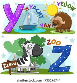 Colored cartoon English alphabet with Y and Z letters for children, with pictures of these letters with yacht, yak, zebra and zoo.