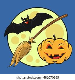 colored cartoon illustration on a Halloween theme bat, pumpkin, broom on full moon background