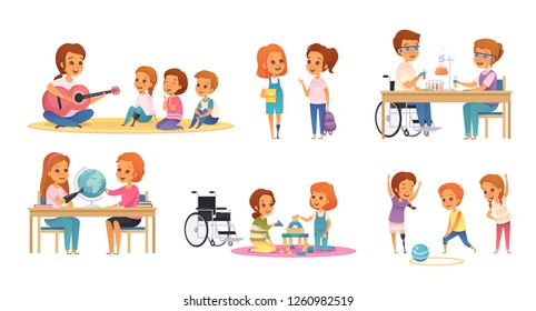 Colored and cartoon inclusion inclusive education icon set with disabled children learn and play vector illustration