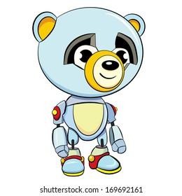 colored cartoon a little panda is robot
