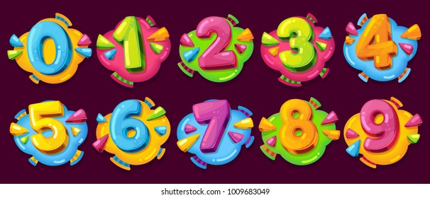 Colored cartoon numbers. Vector set of 1-9 digit baby icons in the cloud - Shutterstock ID 1009683049