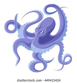 Colored cartoon octopus, cool drawings character