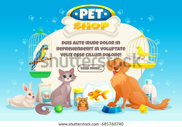 Vetor Stock De Composicao Colorido Pet Shop De Desenhos Livre De