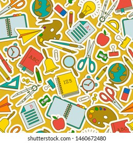 Colored cartoon school seamless pattern with isolated flying school elements an tools vector illustration