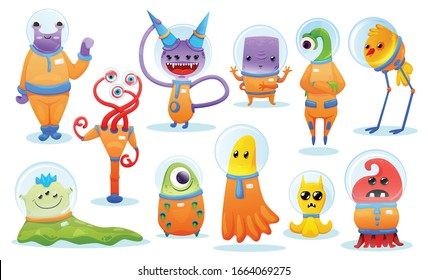 Colored cartoon set of cute monster and alien creatures for kids game isolated vector illustration