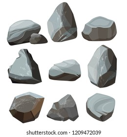 Colored cartoon stones. Granite large and small rocky gravels and boulders vector colored pictures. Granite stone, boulder rock collection of illustration