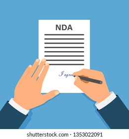 Colored Cartooned Hand Signing NDA. Contract Signed document. NDA concept. Secret files. Stock vector illustration.