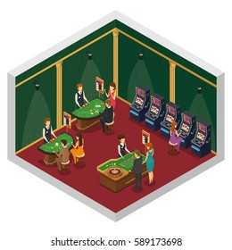 Colored casino isometric interior composition with two walls and red floor with gambling tables and visitors vector illustration
