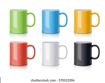 Colored ceramic mugs for coffee or tea. Realistic vector illustration