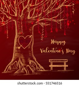 Colored chalk drawn illustration with big tree, heart with arrow and XO-XO on it, empty bench near the tree. Happy Valentine's Day theme. Card design. Romantic mood.