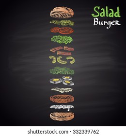Colored chalk drawn illustration of Salad Burger with ingredients. Burger menu theme. Fast food collection.