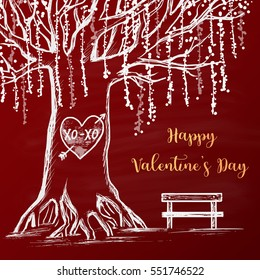 Colored chalk drawn illustration with white tree, heart with arrow and XO-XO on it, empty bench near the tree. Happy Valentine's Day theme. Card design. Romantic mood.
