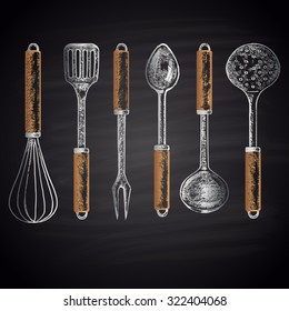 Colored chalk drawn set with different types of kitchen accessories (whisk, skimmer, spatula, soup ladle, etc.). Kitchen theme.