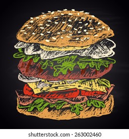Colored chalk painted illustration of egg burger.